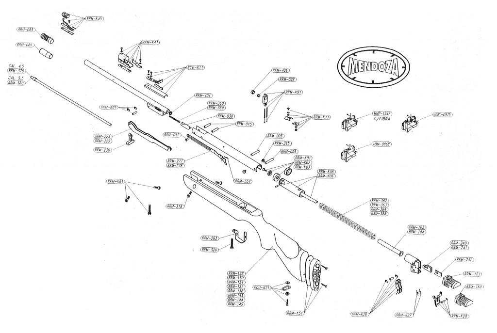 Lista de refacciones de los rifles mendoza