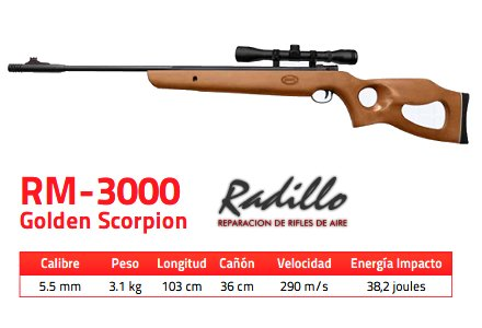 Rifle Mendoza RM-3000 Golden Scorpion